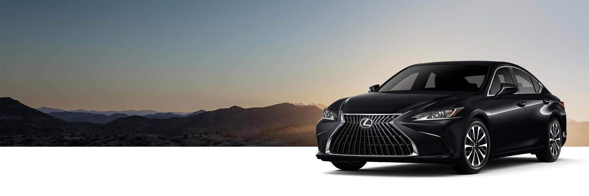 Exterior of the Lexus ES 250 AWD shown in Obsidian.