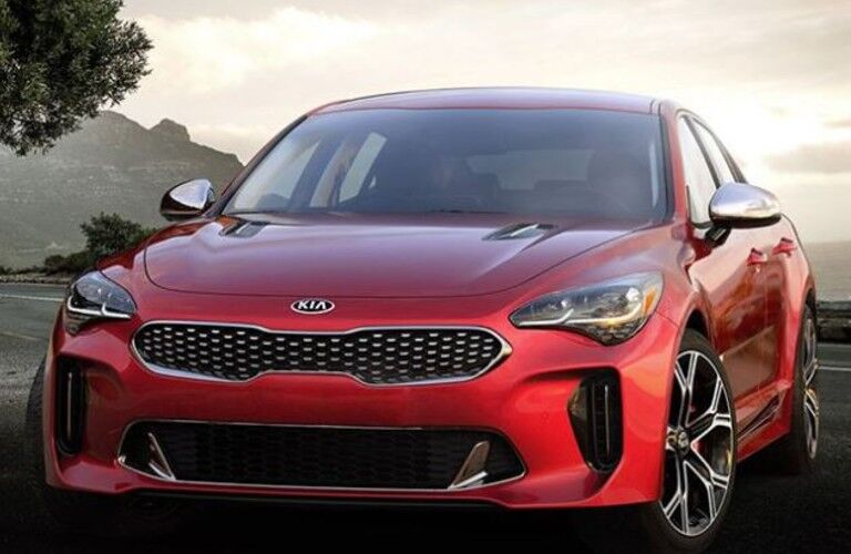 Exterior front and side of the 2021 Kia Stinger