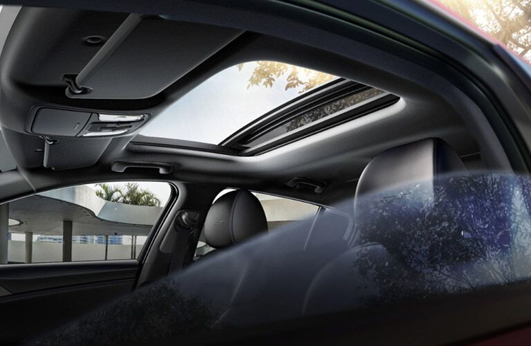 Sunroof and interior of the 2021 Kia Stinger