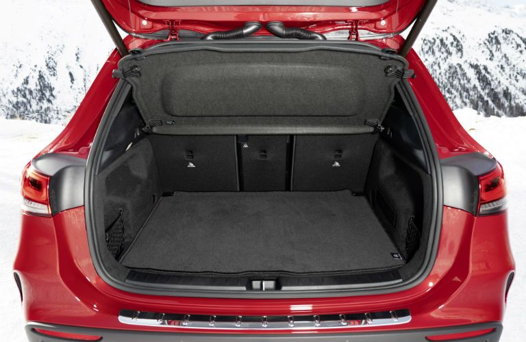 2021 MB GLA exterior back fascia trunk open showing empty cargo space