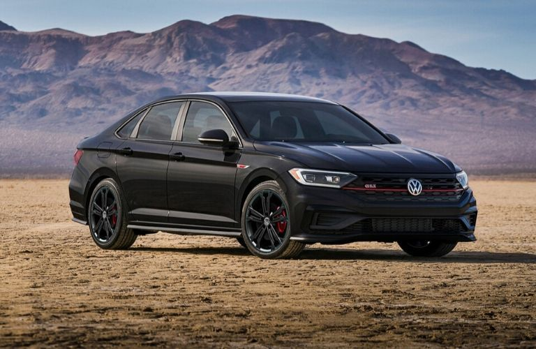 Exterior view of the front of a black 2020 Volkswagen Jetta GLI