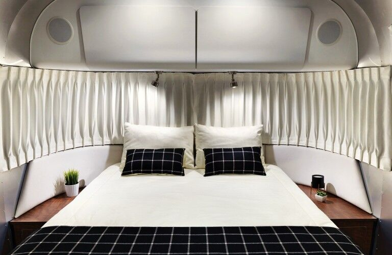 The master bedroom area inside a 2021 Airstream Globetrotter.