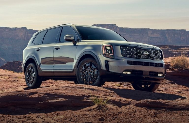 Exterior view of the front of a gray 2021 Kia Telluride