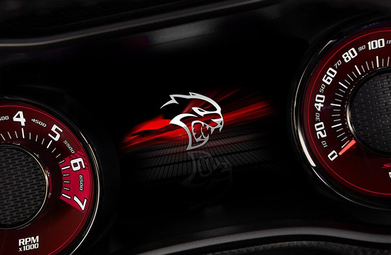 Close up of the SRT Hellcat logo in the dashboard of the 2019 Dodge Challenger SRT Hellcat