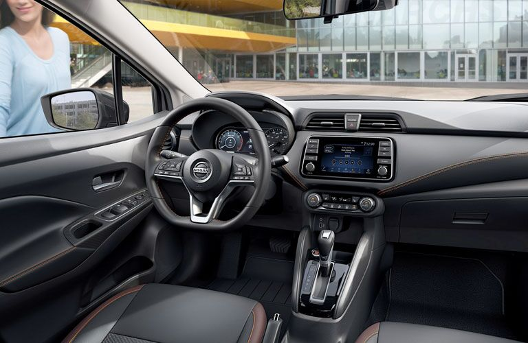 Interior view of the front seating area inside a 2020 Nissan Versa