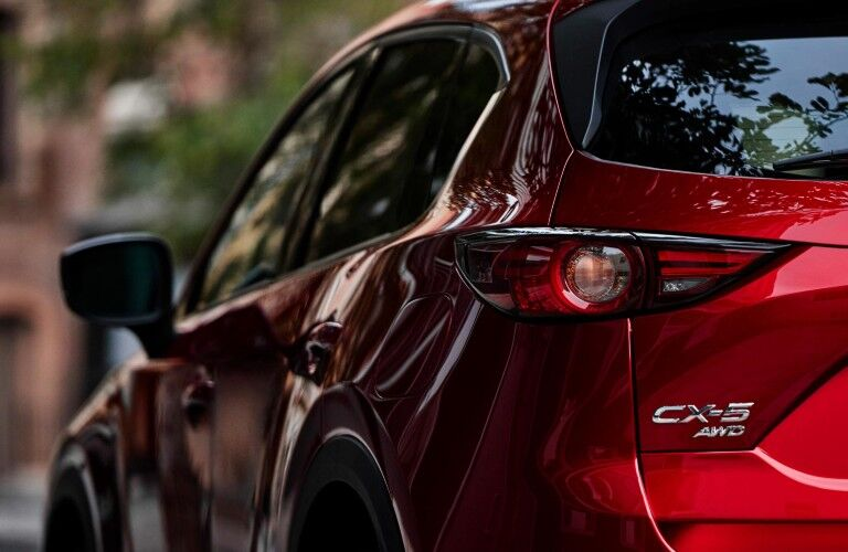 Rear view of red 2019 Mazda CX-5