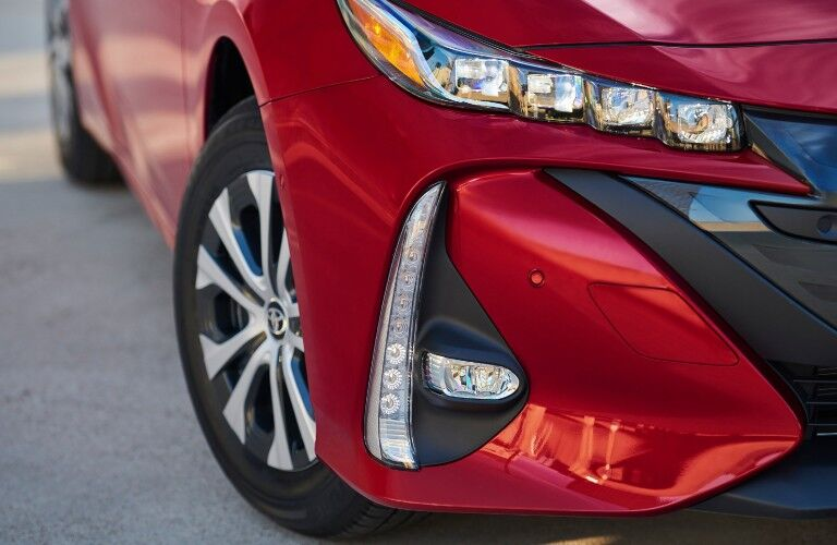 close up view of the 2021 Toyota Prius Prime headlights