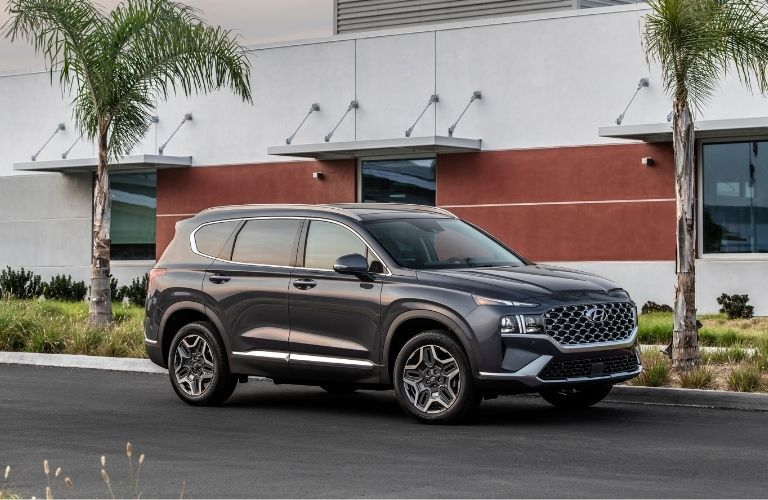 2021 Hyundai Santa Fe exterior front fascia passenger side in front of building