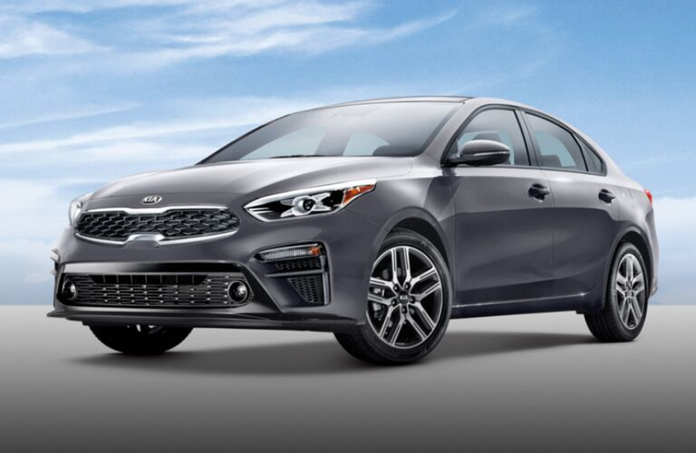 Exterior view of the front of a gray 2020 Kia Forte