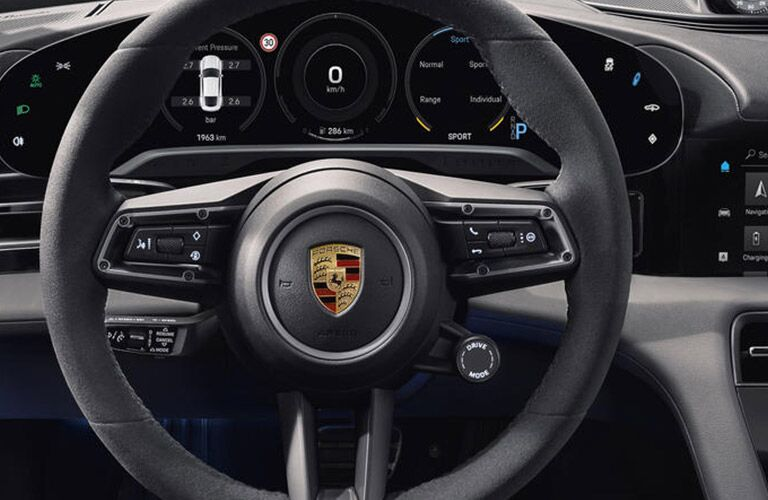 steering wheel in the 2020 Porsche Taycan