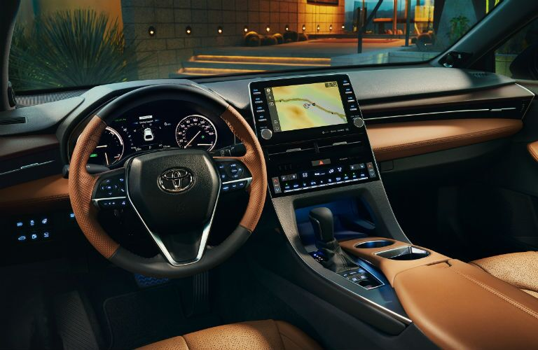 A photo of the driver's cockpit in the 2021 Toyota Avalon.