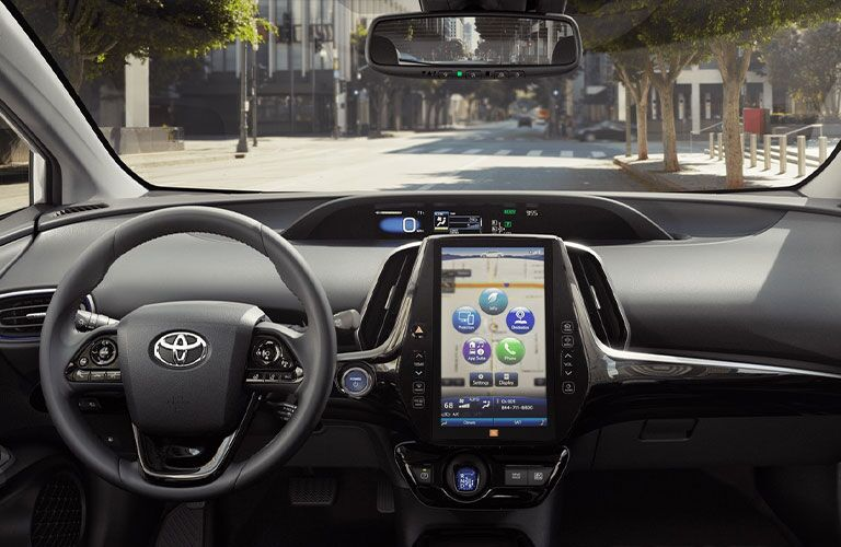 Steering wheel and touchscreen device inside the 2021 Toyota Prius