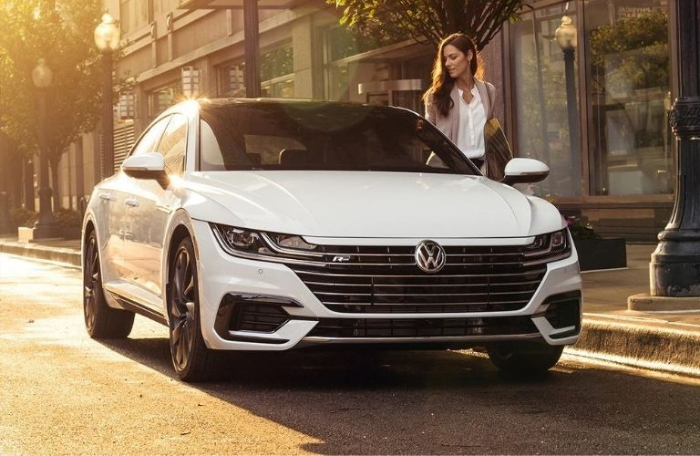 Exterior view of the front of a white 2020 Volkswagen Arteon