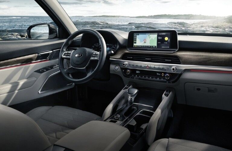 Interior front row and driver area of the 2021 Kia Telluride