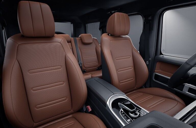 A photo of the front seats in the 2021 Mercedes-Benz G-Class.