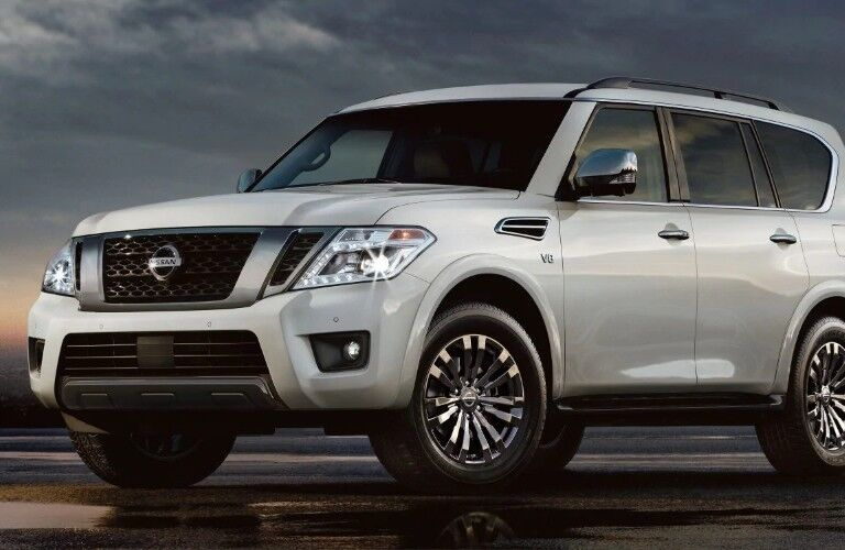 Front driver angle of a white 2019 Nissan Armada