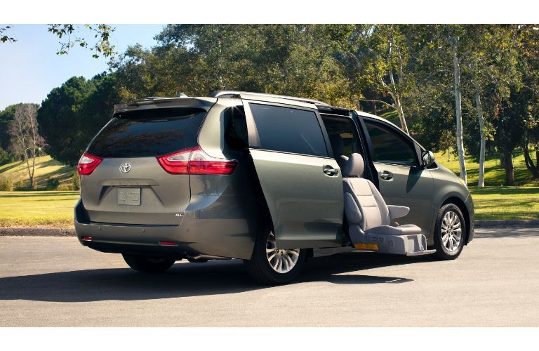 2020 Toyota Sienna exterior side rear shot with access seat function in use