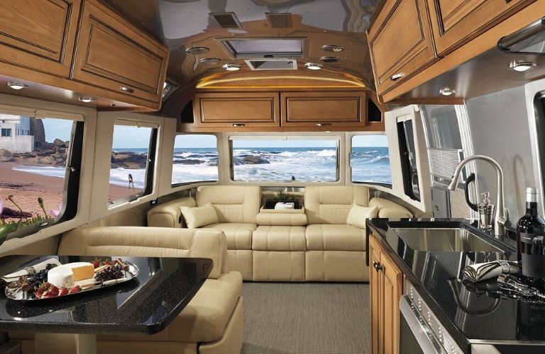Interior view of the front portion of a 2020 Airstream Classic