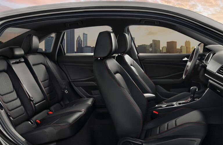Passenger angle of the black leather with red stitching interior in the 2019 Volkswagen Jetta GLI