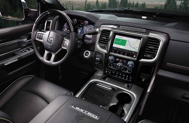 Front steering wheel and touchscreen of 2018 RAM 2500