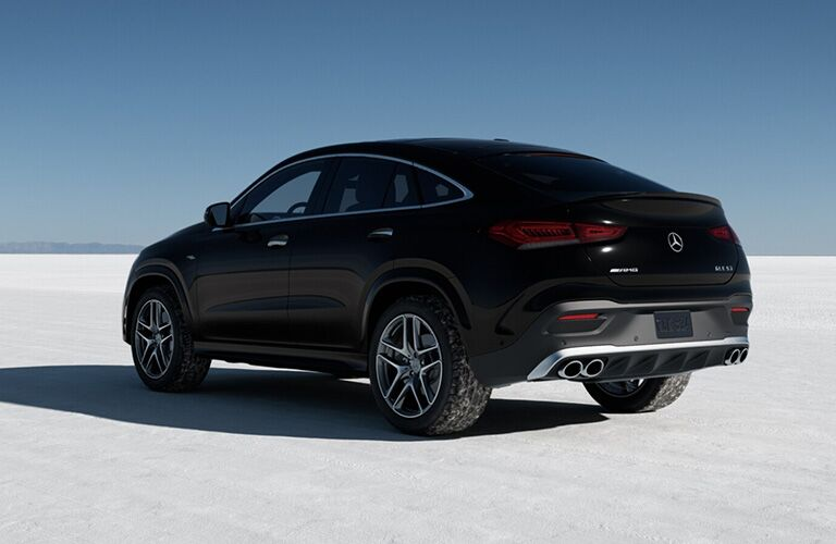2021 MB GLE Coupe exterior rear fascia driver side in snow