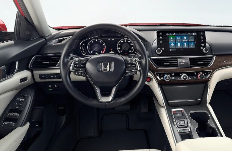 Close up of the steering wheel and dashboard inside the 2020 Honda Accord