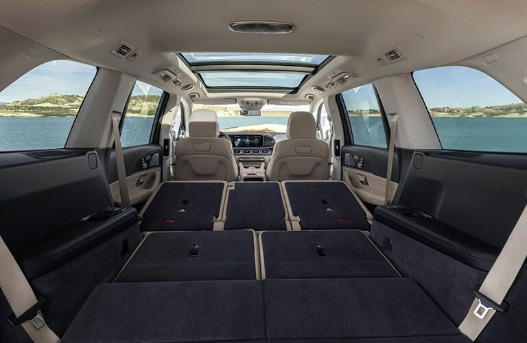 cargo area with seats down in the 2020 mercedes-benz gls