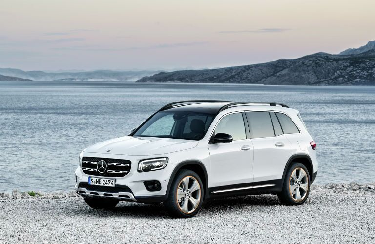 front of 2020 mercedes-benz glb on the beach