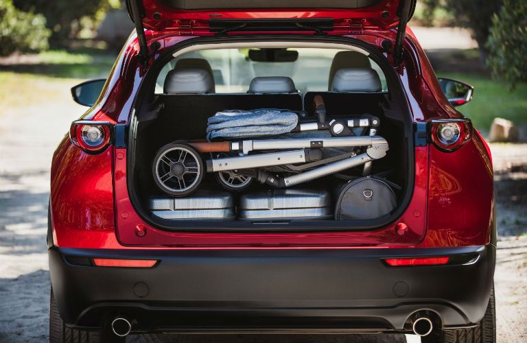 A photo of cargo loaded in the back of the 2020 Mazda CX-30.