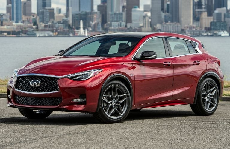 Exterior view of a red 2017Infiniti QX30