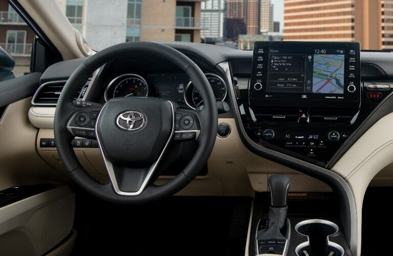The front interior inside a 2021 Toyota Camry.