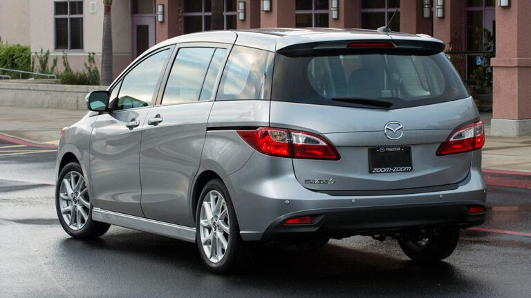 Rear view of silver 2014 Mazda5