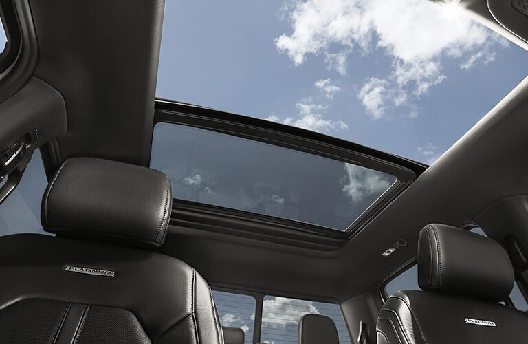 An image of the rear seats and moonroof available in the 2020 Ford F-150.