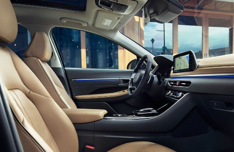 The front interior view inside a 2021 Hyundai Sonata.