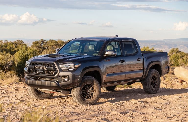 Exterior view of the front of a blue 2020 Toyota Tacoma