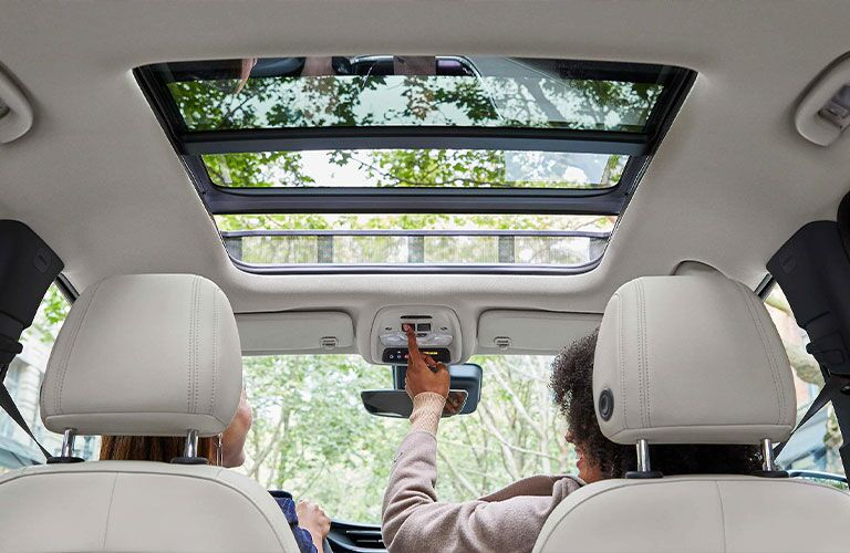 The rear interior view of the sunroof available in the 2021 Buick Encore GX.