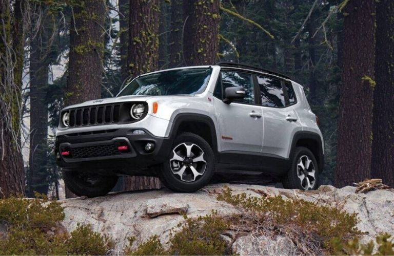 Exterior view of the front of a silver 2020 Jeep Renegade