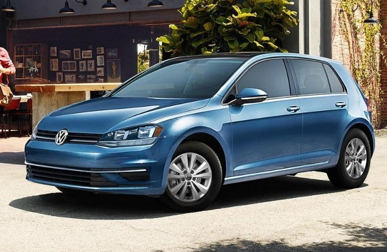 Exterior view of a blue 2020 Volkswagen Golf