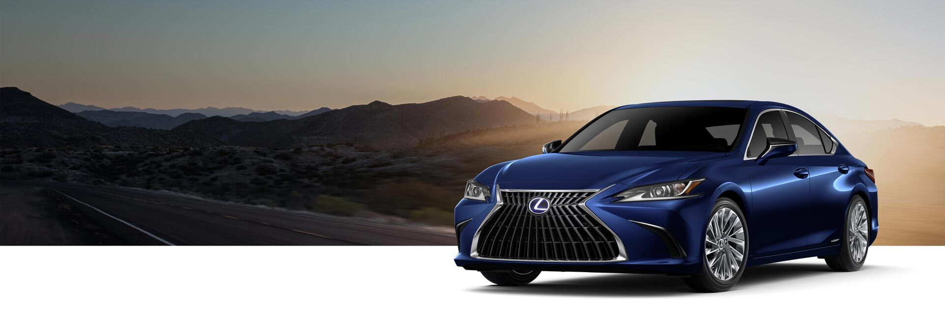 Exterior of the Lexus ES 300h Ultra Luxury shown in Nightfall Mica.