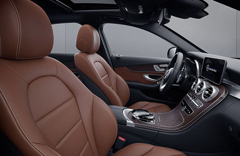 2020 MB C-Class side view seats steering wheel and dashboard