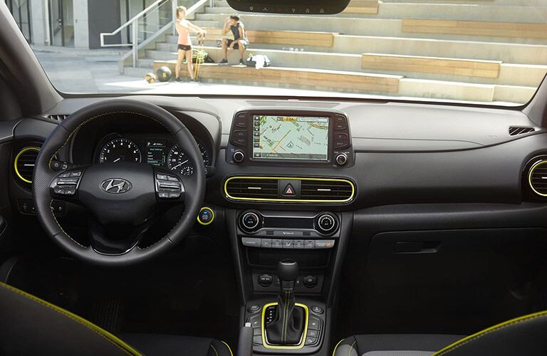 Steering wheel, gauges, and touchscreen in 2020 Hyundai Kona