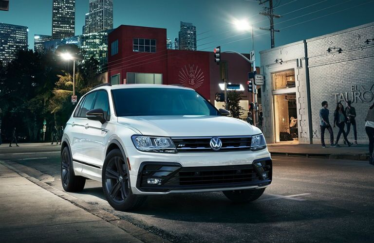 2019 VW Tiguan front end on city street