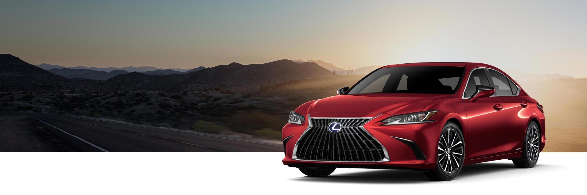 Exterior of the Lexus ES 300h Luxury shown in Matador Red Mica.