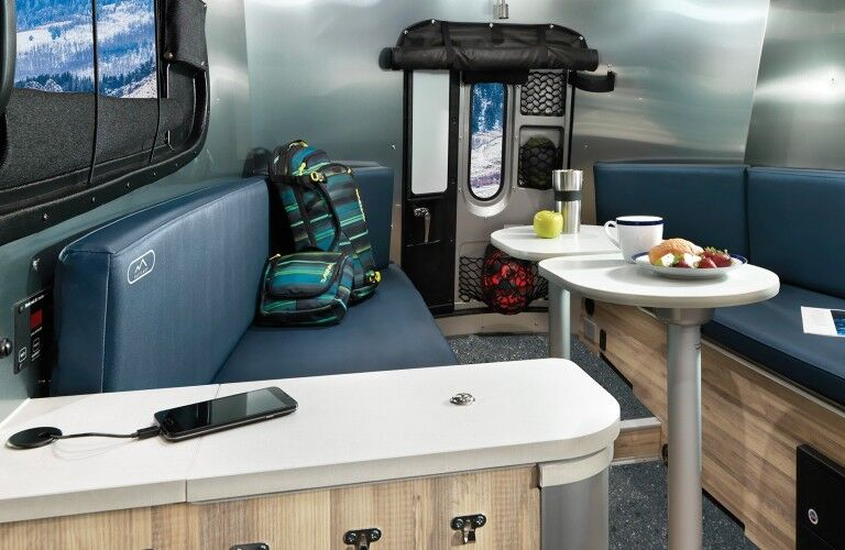 The rear interior image inside the 2021 Airstream Basecamp.