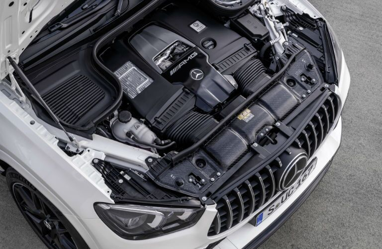 A photo of the engine used by the 2021 Mercedes-AMG® GLE 63 S Coupe.