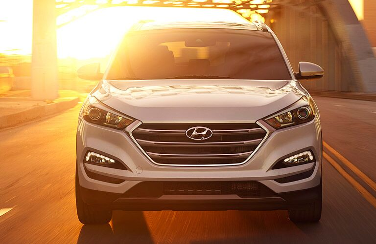 The front grille of a white 2017 Hyundai Tucson.