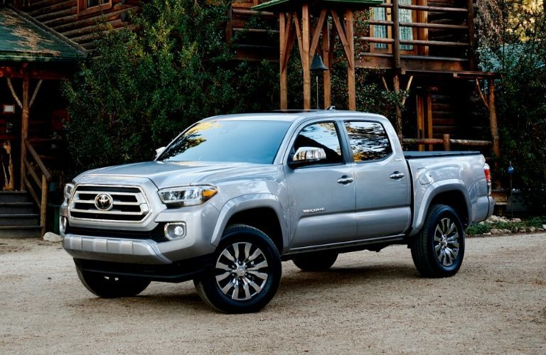 2020 Toyota Tacoma in front of a lodge
