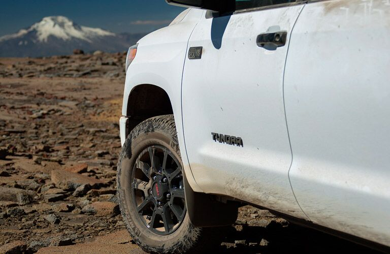 Close-up of a white Toyota Tundra