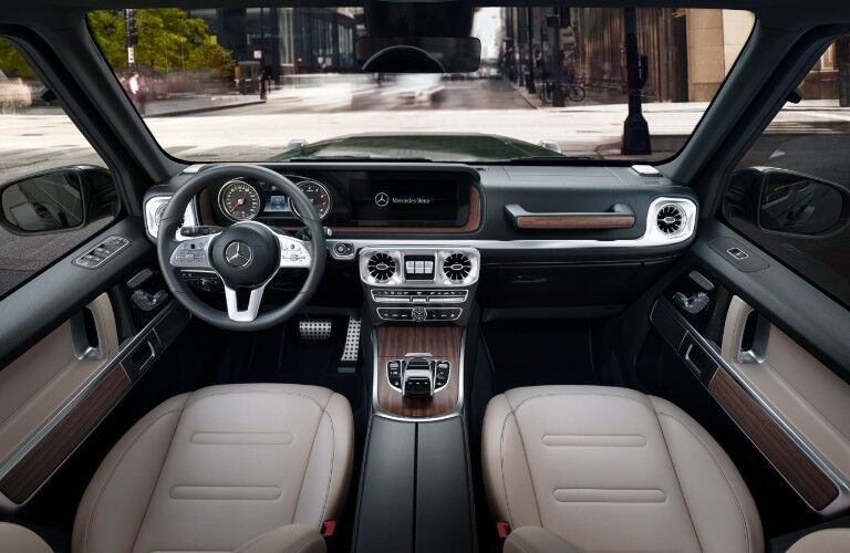 A photo of the dashboard in the 2021 Mercedes-Benz G-Class SUV.