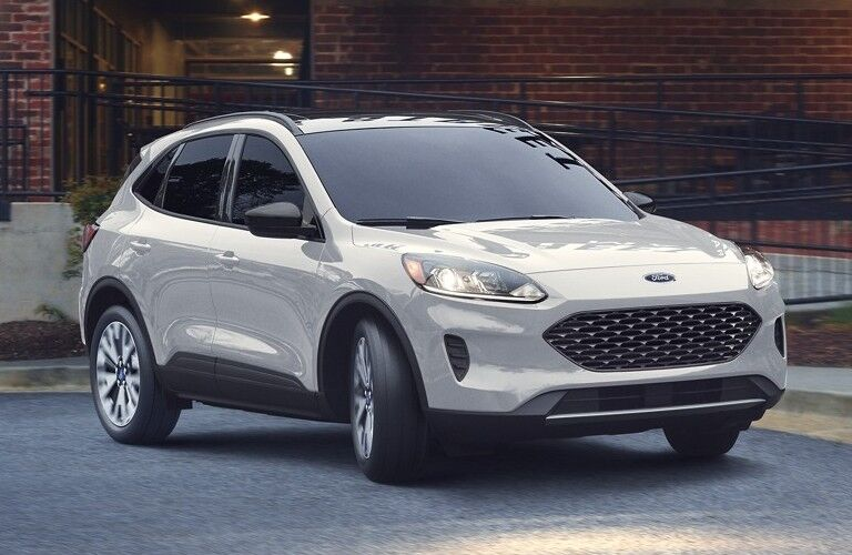 The front exterior of a white 2020 Ford Escape.